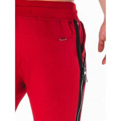 KRÓTKIE SPODENKI MĘSKIE DRESOWE W054 - CZERWONE. Czerwone bermudy męskie Ombre Clothing, z bawełny. Za 24,99 zł.