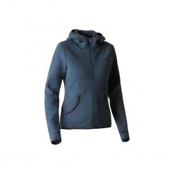 Bluza na zamek z kapturem Gym & Pilates 900 damska. Niebieskie bluzy polarowe DOMYOS, xl, z kapturem. Za 109,99 zł.