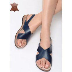 Sandały damskie: Niebieskie Skórzane Sandały Bad Embrace