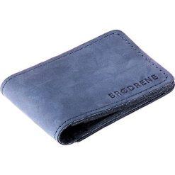 Cienki portfel ze skóry naturalnej BRODRENE granatowy. Niebieskie portfele męskie marki Brødrene, ze skóry. Za 84,90 zł.