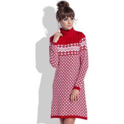 Czerwono Biała Sukienka Żakardowa w Skandynawskie Wzory. Czerwone sukienki marki Molly.pl, na zimę, l, z żakardem, z golfem. Za 99,90 zł.