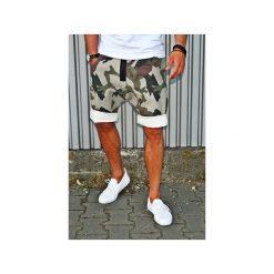 Szorty damskie: Button jeans short pants krótkie spodenki moro