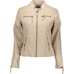 Bomberki damskie: Skórzana kurtka w kolorze beżowym