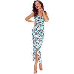 PATRYCJA Sukienka z asymetrycznym drapowaniem kwiaty zielone. Zielone długie sukienki Bergamo, na imprezę, s, w kwiaty, eleganckie, z asymetrycznym kołnierzem, bez rękawów, asymetryczne. Za 172,99 zł.