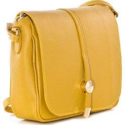Torebki klasyczne damskie: Skórzana torebka w kolorze żółtym – 23 x 25 x 7 cm