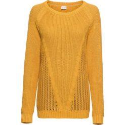 Sweter bawełniany, długi rękaw bonprix miodowy. Żółte swetry klasyczne damskie marki bonprix, z bawełny. Za 89,99 zł.