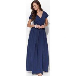 Długie sukienki: Granatowa Casualowa Maxi Sukienka Kopertowa z Krótkim Rękawem