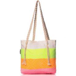 """Torba plażowa """"Waves"""" w kolorze zielono-pomarańczowym - 40 x 50 cm. Brązowe shopper bag damskie Begonville, z bawełny. W wyprzedaży za 108,95 zł."""