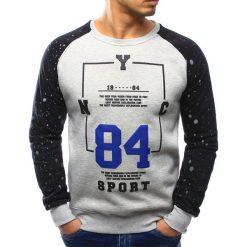 Bluzy męskie: Bluza męska bez kaptura z nadrukiem szara (bx3063)