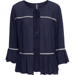 Bluzka z wiązanym troczkiem bonprix ciemnoniebieski. Niebieskie bluzki z odkrytymi ramionami marki bonprix, z kontrastowym kołnierzykiem. Za 49,99 zł.