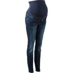 """Dżinsy ciążowe, dopasowane nogawki bonprix ciemnoniebieski """"stone"""". Niebieskie boyfriendy damskie bonprix, moda ciążowa. Za 89,99 zł."""