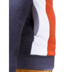 BLUZA MĘSKA Z KAPTUREM MIGUEL - GRAFITOWO-POMARAŃCZOWA. Brązowe bluzy męskie rozpinane marki Ombre Clothing, m, z bawełny, z kapturem. Za 79,00 zł.