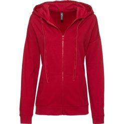 Bluza rozpinana z kapturem i aksamitnymi      troczkami bonprix ciemnoczerwony. Czerwone bluzy rozpinane damskie bonprix, z kapturem. Za 59,99 zł.
