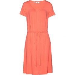 Sukienka ze stretchem, krótki rękaw bonprix łososiowy. Brązowe sukienki mini bonprix, z krótkim rękawem. Za 37,99 zł.