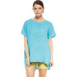 """T-shirty damskie: Lniana koszulka """"Rosa"""" w kolorze błękitnym"""
