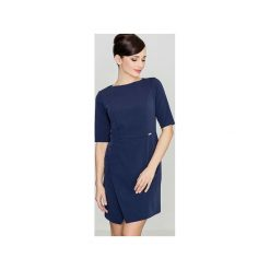 Sukienka K200 Granat. Niebieskie sukienki asymetryczne Lenitif, m, z tkaniny, eleganckie, z asymetrycznym kołnierzem. Za 139,00 zł.