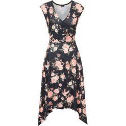 Sukienki asymetryczne: Must have: sukienka z asymetrycznym dołem bonprix czarno-koralowy w kwiaty