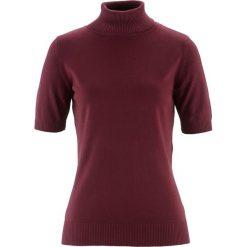 Golfy damskie: Sweter z golfem, krótki rękaw bonprix czerwony klonowy