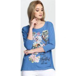 Niebieska Bluzka Wonderful Flower. Niebieskie bluzki na imprezę Born2be, m. Za 59,99 zł.