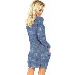 Wiktoria Golf - sukienka z dużymi kieszeniami - JEANS przecierany. Niebieskie sukienki na komunię marki numoco, s, z jeansu, z golfem. Za 145,00 zł.