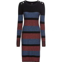 Sukienka dzianinowa w paski bonprix bordowo-niebiesko-czarny. Fioletowe sukienki dzianinowe marki bonprix, w paski. Za 99,99 zł.
