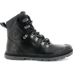 Wysokie buty skórzane Pallab HK. Czarne botki damskie skórzane marki Palladium, sportowe, na wysokim obcasie, na obcasie. Za 500,64 zł.
