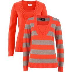 Swetry klasyczne damskie: Sweter (2 szt. w opak.) bonprix czerwona pomarańcza w paski + czerwona pomarańcza