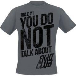 T-shirty męskie z nadrukiem: Fight Club Rule No. 1 – Don't Talk About Fight Club T-Shirt ciemnoszary