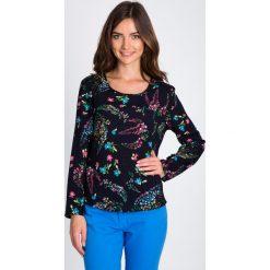 Bluzki damskie: Granatowa bluzka z kwiatowym motywem  QUIOSQUE