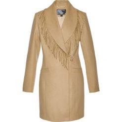 Płaszcz żakietowy z frędzlami bonprix cappuccino. Brązowe płaszcze damskie bonprix. Za 99,99 zł.