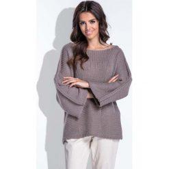 Swetry klasyczne damskie: Luźny Cappuccino Sweter z Szerokim Rękawem