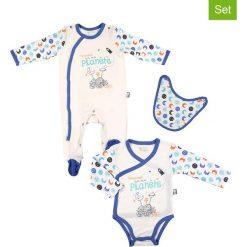 Odzież niemowlęca: 3-częściowy zestaw w kolorze kremowo-niebieskim