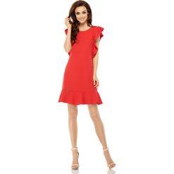 Sukienki: Wizytowa sukienka z falbankami czerwony