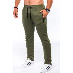 SPODNIE MĘSKIE DRESOWE P549 - KHAKI. Brązowe spodnie dresowe męskie Ombre Clothing, z bawełny. Za 49,00 zł.