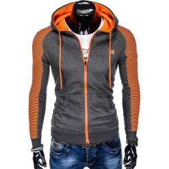 BLUZA MĘSKA ROZPINANA Z KAPTUREM B820 - GRAFITOWA/POMARAŃCZOWA. Brązowe bluzy męskie rozpinane marki Ombre Clothing, m, z bawełny, z kapturem. Za 69,00 zł.