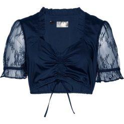 Bluzka ludowa bonprix ciemnoniebieski. Niebieskie bluzki asymetryczne bonprix, w koronkowe wzory, z koronki. Za 59,99 zł.