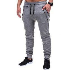 Spodnie męskie: SPODNIE MĘSKIE DRESOWE P421 – SZARE