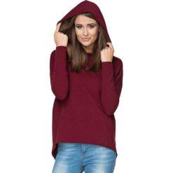 Bordowa Bluza Sportowa Nierozpinana z Kapturem. Czerwone bluzy sportowe damskie Molly.pl, l, z bawełny, z długim rękawem, długie, z kapturem. Za 129,90 zł.