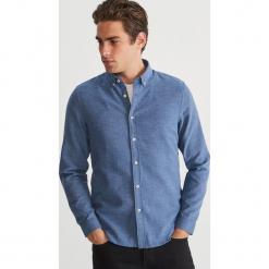 Koszula z drobnym wzorem - Niebieski. Niebieskie koszule męskie marki bonprix, m, melanż, z dżerseju. Za 139,99 zł.