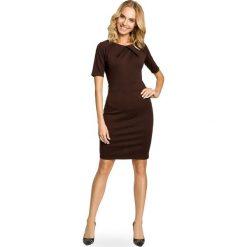 Sukienki: Klasyczna ołówkowa sukienka z dzianiny – brązowa