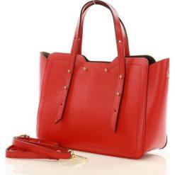 Kuferki damskie: Torebka włoska kuferek skóra CAROLINE – czerwona