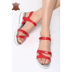 Czerwone Skórzane Sandały Drawn To Me. Czerwone sandały damskie Born2be, z materiału, na obcasie. Za 99,99 zł.