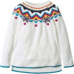 Swetry dziewczęce: Sweter dzianinowy w norweski wzór bonprix biel wełny - kolorowy
