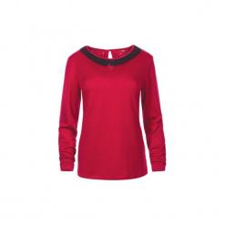 Bluzka dzianina z kołnierzykiem gładka. Czerwone bluzki damskie TXM, z dzianiny. Za 39,99 zł.