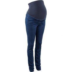 Legginsy dżinsowe dla ciężarnych bonprix ciemny denim. Niebieskie legginsy ciążowe bonprix, w paski, z denimu. Za 89,99 zł.
