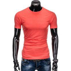 T-shirty męskie: T-SHIRT MĘSKI BEZ NADRUKU S884 – KORALOWY