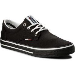 Tenisówki TOMMY JEANS - Textile Sneaker EM0EM00001 Black 990. Czarne tenisówki męskie marki Tommy Jeans, z gumy. W wyprzedaży za 249,00 zł.