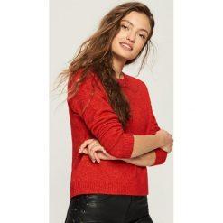Swetry klasyczne damskie: Sweter z kontrastową wstążką - Czerwony
