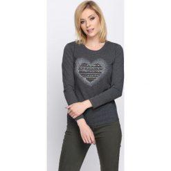 Ciemnoszara Bluzka Perception. Czarne bluzki longsleeves marki bonprix, z aplikacjami, z falbankami. Za 39,99 zł.