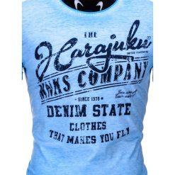 T-shirty męskie: T-SHIRT MĘSKI Z NADRUKIEM S671 – NIEBIESKI